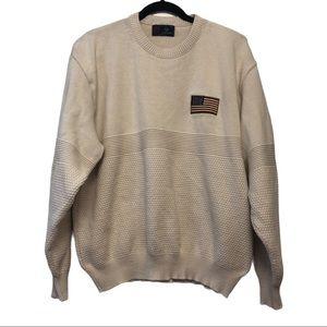 Vintage Cream American Flag Oversized Sweater
